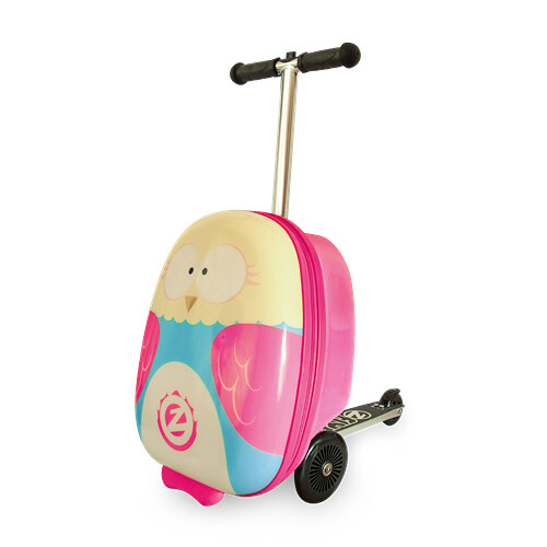 Zinc Flyte Scooter Suitcase with a pink owl design.