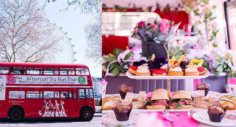 The B Bakery bus and afternoon tea served on board.
