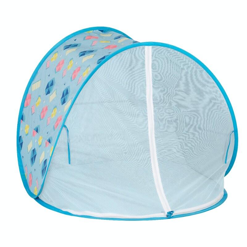 A Babymoov Anti-UV Baby Beach Tent with a beach themed pattern.