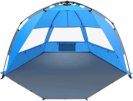 A blue Tavgo Pop Up Beach Tent.