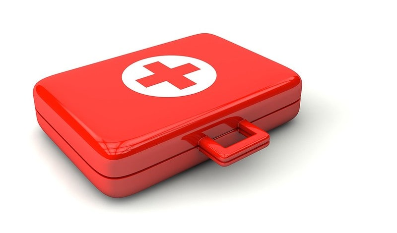 A red first aid case used by doctors.