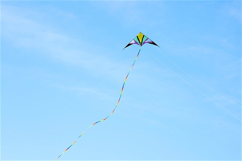 A multi-coloured kite flying high in a blue sky.