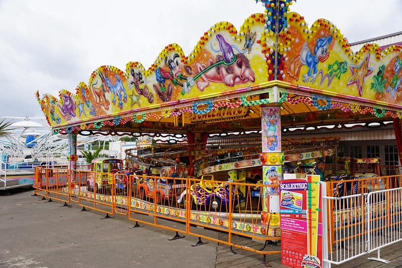 Arcade games and funfair rides on the pier at Clacton-on-Sea.