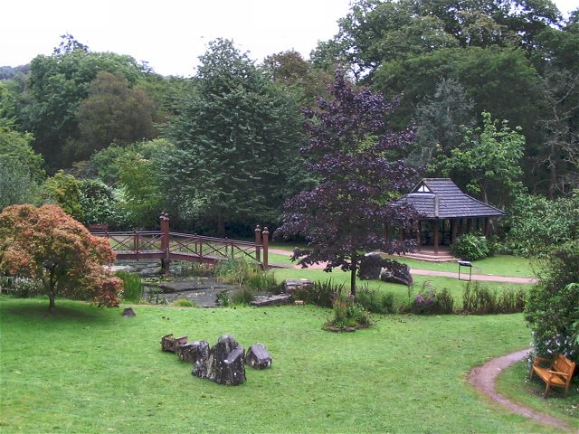 The Oriental garden with a small bridge at Bryngarw Country Park, Cardiff.