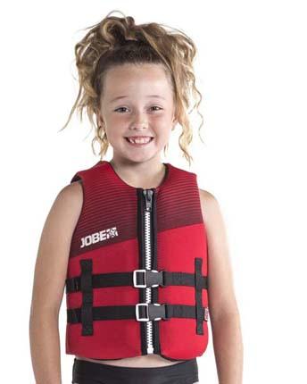 Young girl wearing Jobe Junior 50 N Kids Buoyancy Aid.