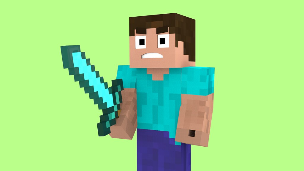 Minecraft character Steve standing against a green background holding a sword.