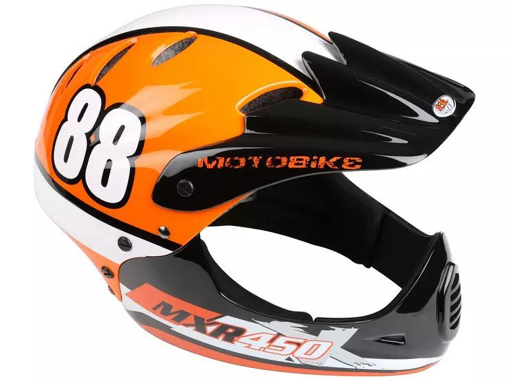 An orange Motorbike MR450 Full Face Helmet.