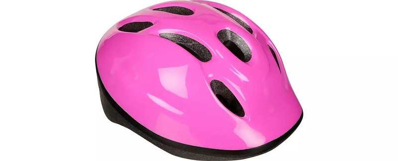 A pink Halfords Kids Bike Helmet.