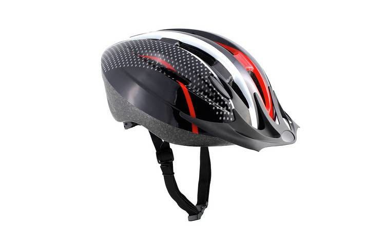 Challenge Kids Argos helmet in black with red and white design.