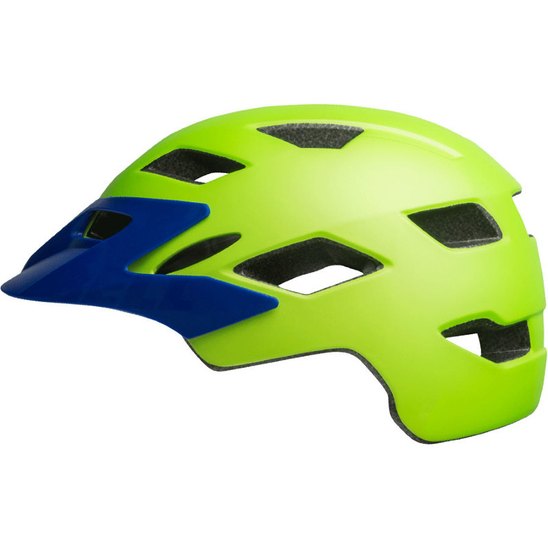 A neon green and blue Bell Sidetrack Kids Bike Helmet.