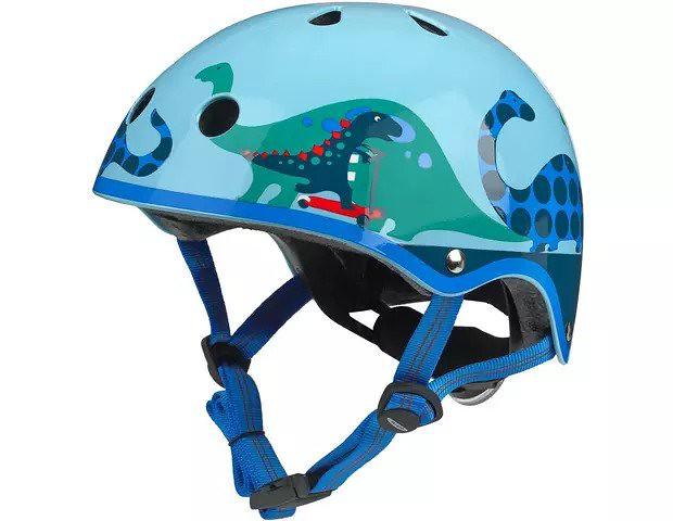 A Micro 2D Scootersaurus Kids Bike Helmet with a dinosaur pattern over the head.