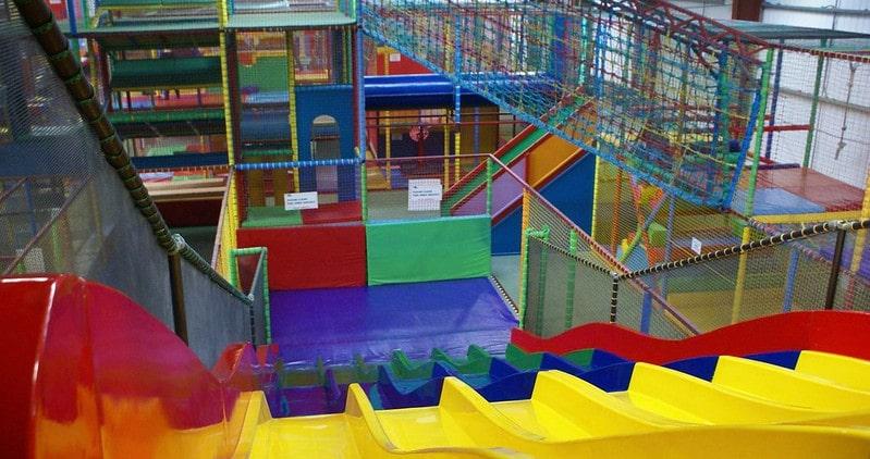Colourful, multi-level soft play area at the Big Fun Hull.