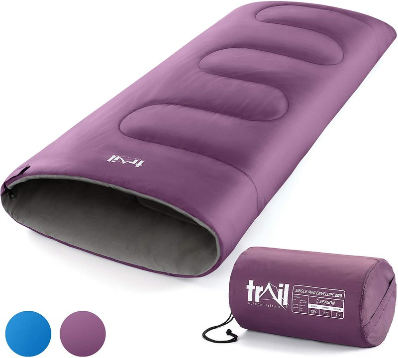 A purple Trail Envelope Mini Sleeping Bag that also comes in blue.