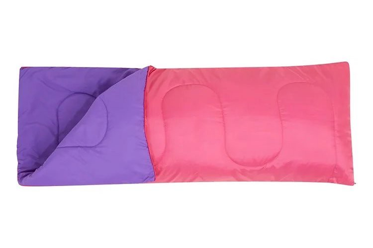 A pink and purple reversible Basecamp 200 Mini Sleeping Bag.