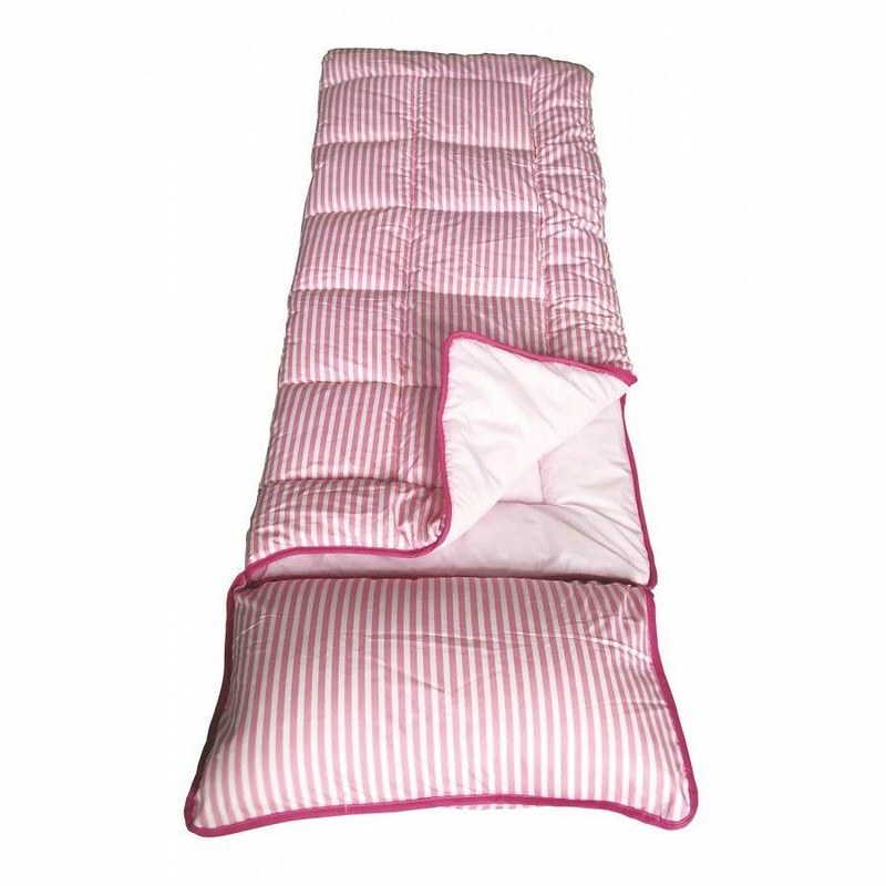 A pink striped Sunncamp Pink Stripe Junior Sleeping Bag.
