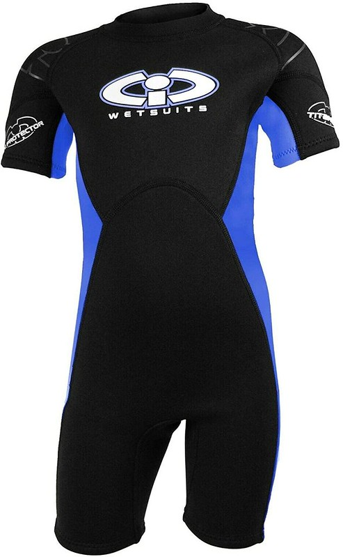 A Childs 3mm Titanium Shortie Wetsuit.