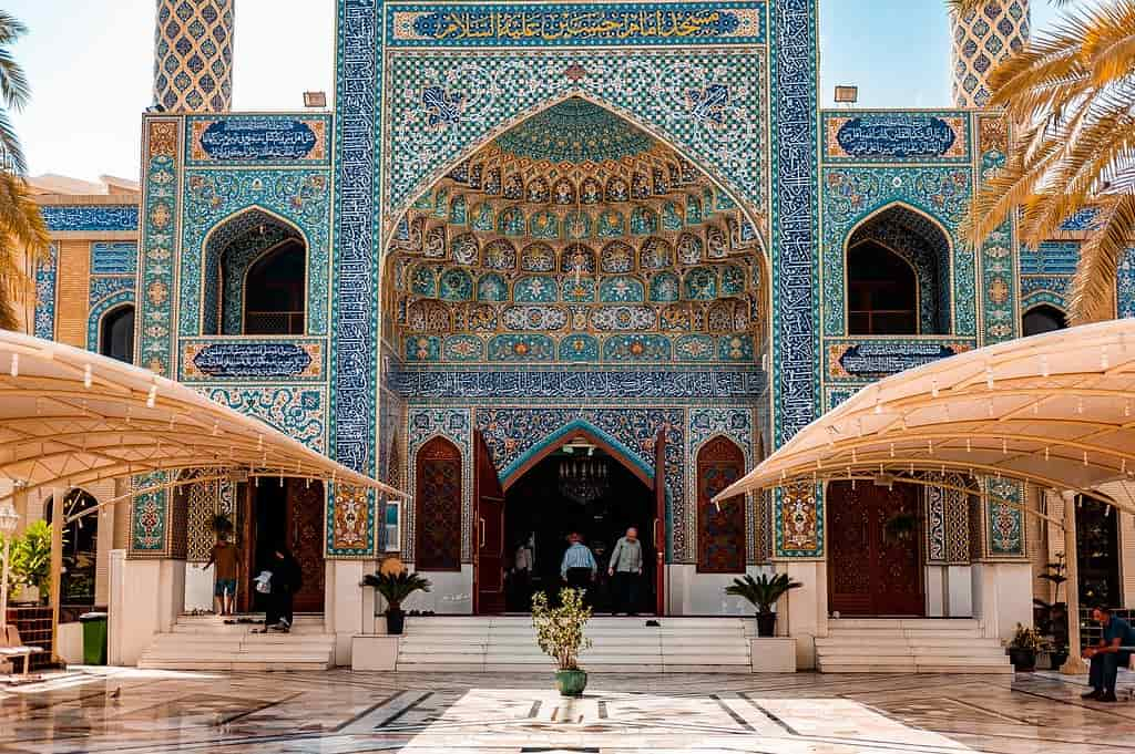 Stunning Arabic architecture, tiles in blues and yellow making a beautiful pattern.