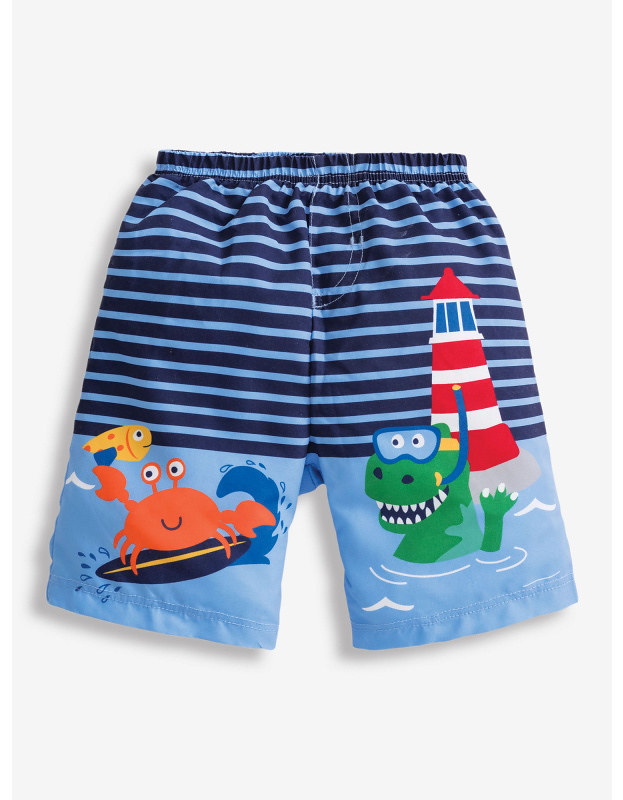 Sea Print Swim Shorts With Nappy, with a cute lighthouse design.