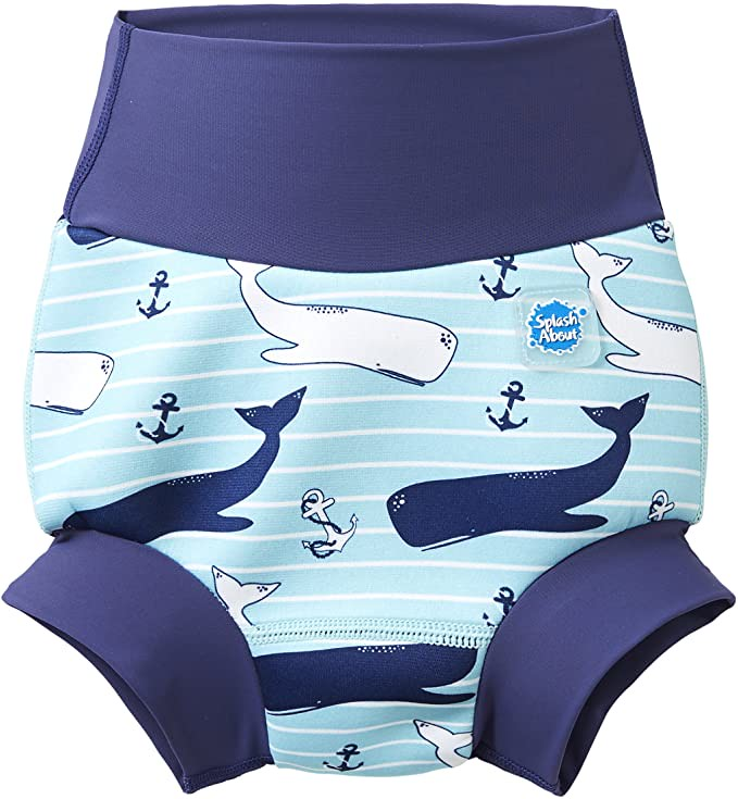 A blue Happy Nappy with a whale print.