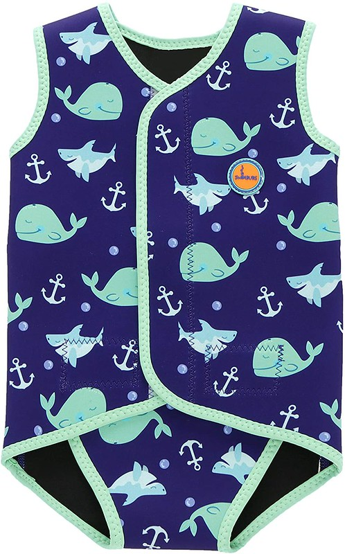 A Baby Swimming Wrap with a whale print.