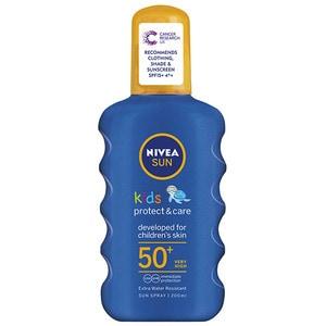 A Nivea Sun Kids Suncream Spray SPF 50+ bottle.