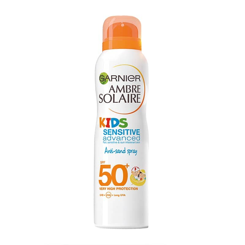 A Garnier Ambre Solaire Kids Protection Anti-Sand Spray, SPF 50+ bottle.