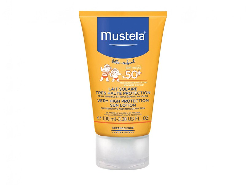 A Mustela Very High Protection Sun Lotion SPF 50+ tube.