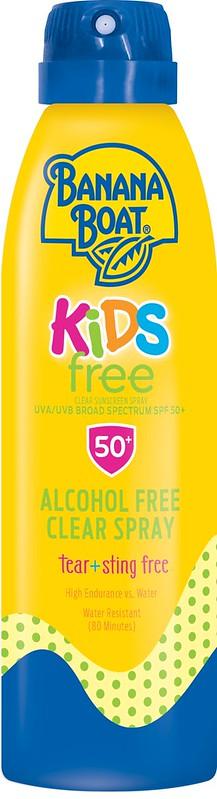 A Banana Boat Kids Ultramist Tear-Free Spray SPF 50 bottle.