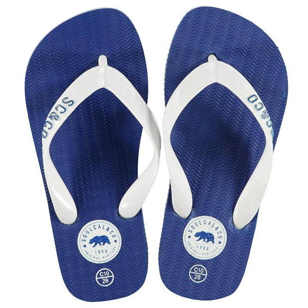 Blue and white Soulcal Maui Childrens Flip Flops.