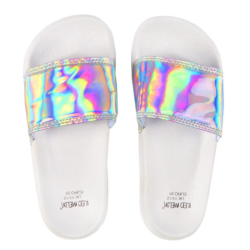 Lora Dora Iridescent Glitter Sliders.