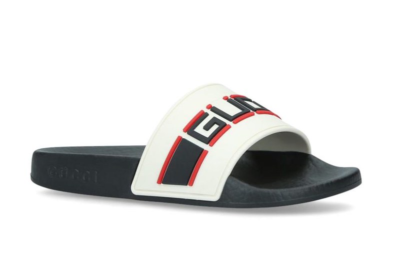Gucci Nastro Rubber Sliders.