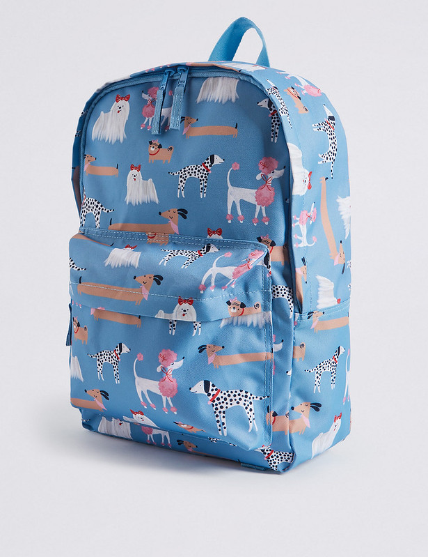 Dog pattern M&S Kids Water Repellent School Backpack.