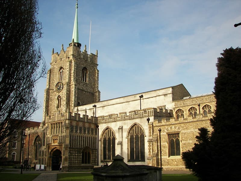 The Cathedral in Chelmsford on a clear sunny day, built over 800 years ago.