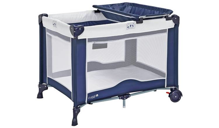 Navy blue Cuggl Deluxe Travel Cot And Changer Unit.