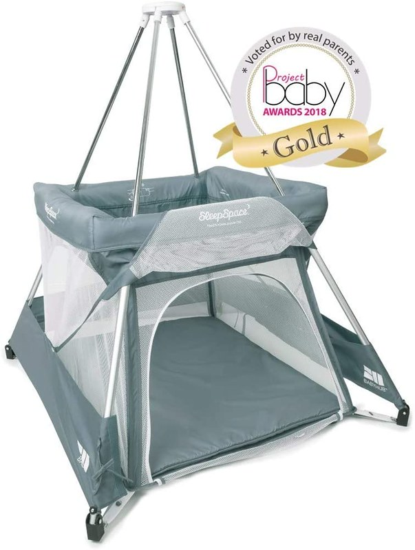 Grey Baby Hub Sleep Space Travel Cot.