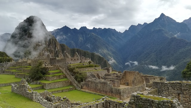 Side view of Machu Picchu, a surviving Inca town.