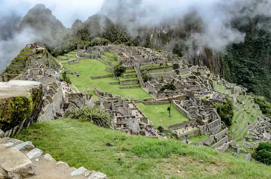 Aerial view of Machu Picchu, the Inca town constructed on a hillside.