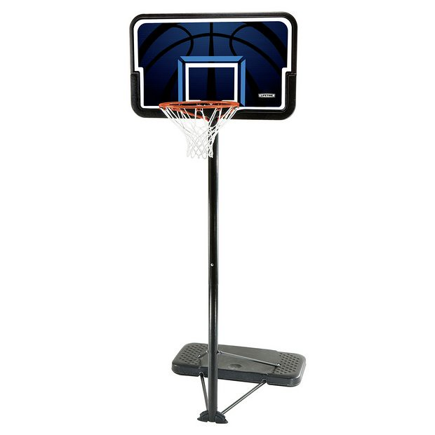 A Lifetime Adjustable Portable Basketball Hoop.