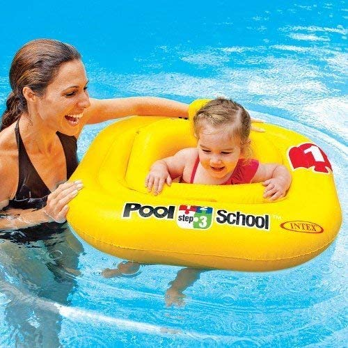 Mum in a swimming pool, with her baby in an Intex Deluxe Pool School Baby Float.