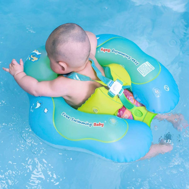 Baby in a Free Swimming Baby Pool Float.