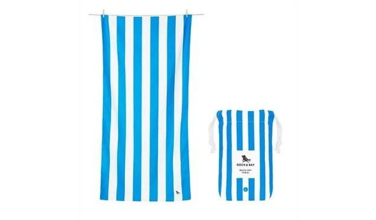 White and blue Quick Dry Beach Towel by Dock & Bay.