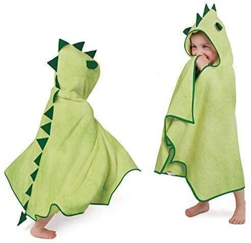 A green Cuddleroar Dragon Toddler Towel by Cuddledry.