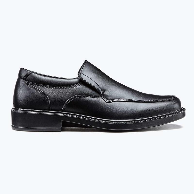 Treads Monaco Black Leather Slip On School Shoes.