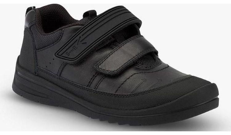 Start Rite Bolt Black Leather Riptape school shoes.