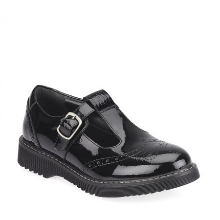 Start Rite Black Patent T-Bar Buckle Girls' School Shoes.