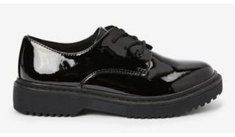 Next Black Patent Chunky Lace-Up Shoes.