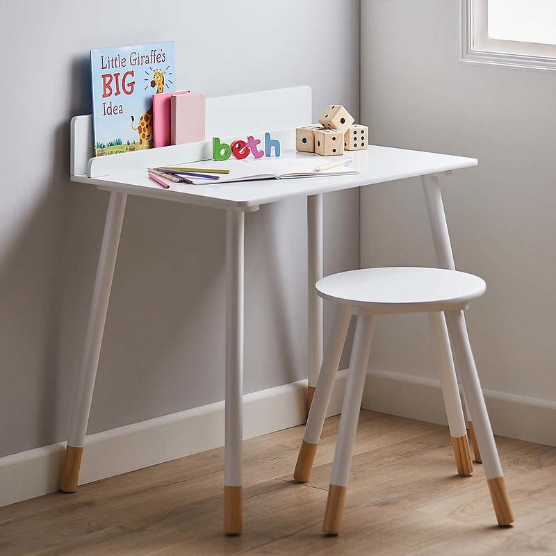 Kids White Desk And Stool Set.