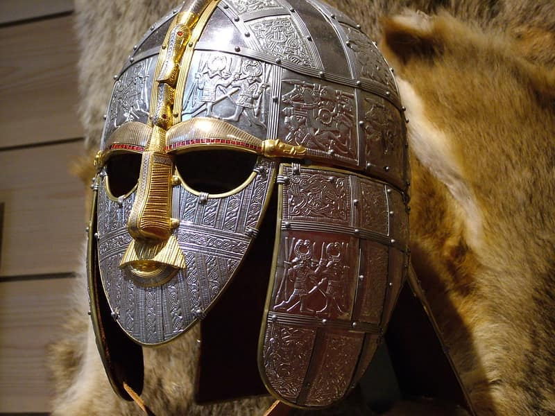 Anglo-Saxon helmet and mask armour, made of silver and gold metals.