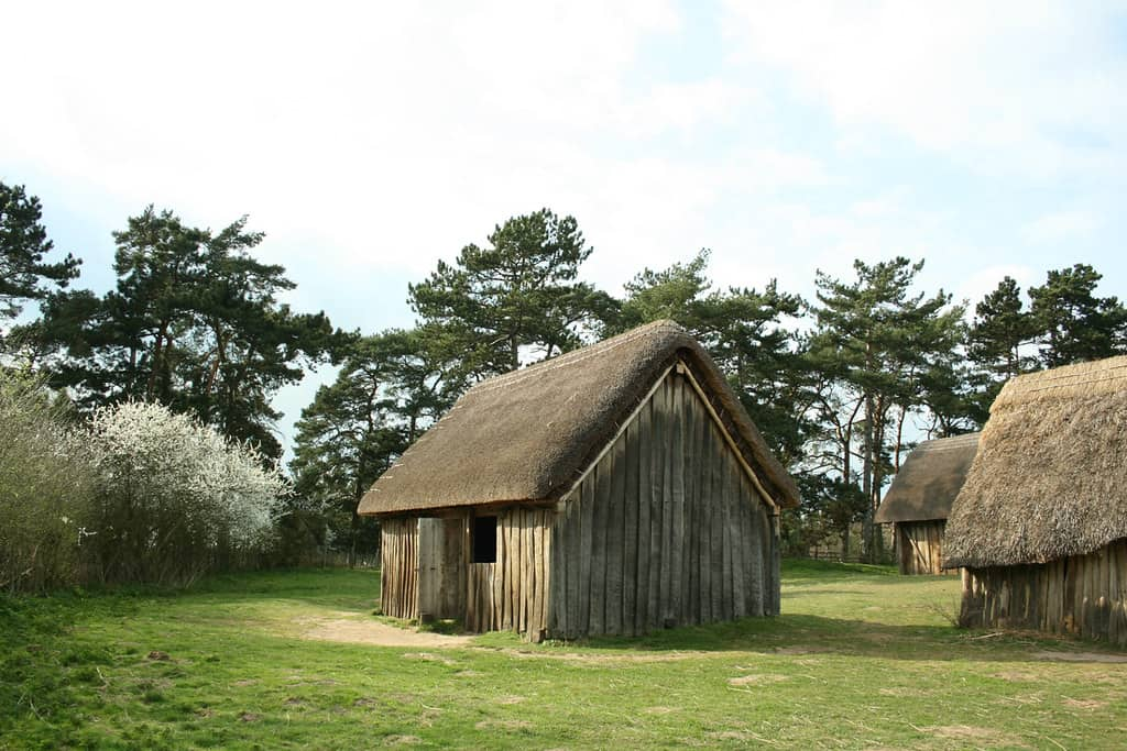 An Anglo-Saxon hut-like house in West Stow Village.