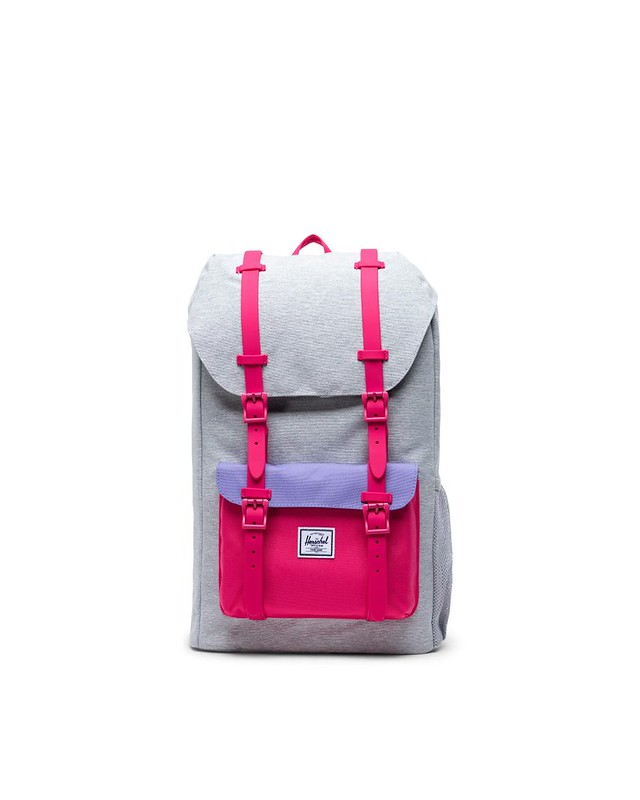 Pink and grey Little America Backpack.